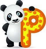 Panda with alphabet P