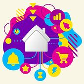 House on abstract colorful spotted background with different icons and elements. Flat design for the web, interface, print, banner, advertising.