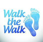 walk the walk message sign illustration design
