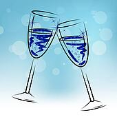 Champagne Glasses Means Beverage Fun And Congratulations