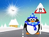 penguin with slippery road sign