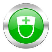 nurse green circle chrome web icon isolated