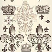 Heraldic wallpaper pattern with