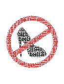 no high heels text collage Composed in the shape of no high heels  sign an isolated on white