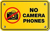 no camera phones yellow sign
