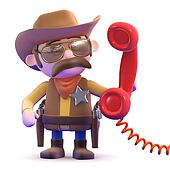 3d Cowboy sheriff answers the phone