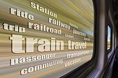 train travel word cloud
