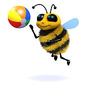 3d Bee beach ball