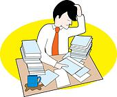 Man with messy desk