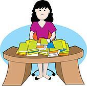 Woman at messy desk