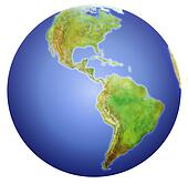 Earth showing North, Central, and South America.