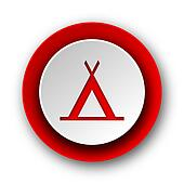 camp red modern web icon on white background