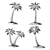 Palm Trees Black Pictograms