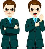 Angry Businessman Late Concept