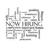 Now Hiring Word Cloud Concept in black and white