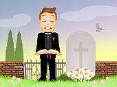 priest celebrates funeral
