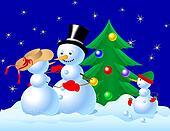Snowman Family Celebrating Christmas