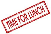 Time for lunch red square grungy stamp isolated on white background