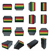 bolivia flags 3D Box with  mesh texture