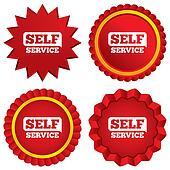 Self service sign icon. Maintenance button.