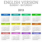 2015 Calendar English Language Version Sun ? Sat