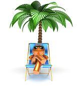 Man cartoon character relaxing beach deck chair palm tree