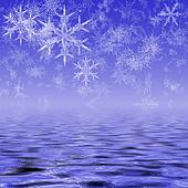Snowflakes Over Water