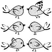 Set of patterned birds