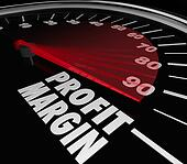 Profit Margin words on a speedometer with needle racing to illustrate fast rise in net income or money earnings for a business, company, store or seller