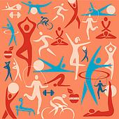 Fitness icons decorative background