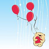 vector teddy bear with heart shaped balloons