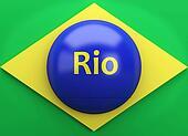 3d Brazil flag with Rio de Janeiro. Summer olympic games
