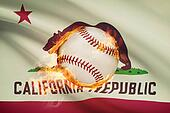 Baseball ball with flag on background series - California
