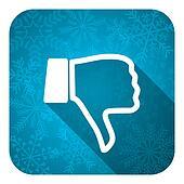dislike flat icon, christmas button, thumb down sign