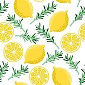 Seamless lemon and rosemary