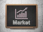 Business concept: Growth Graph and Market on chalkboard background