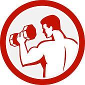 Man Lifting Dumbbell Fitness Retro