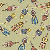 Seamless pattern with dreamcatcher, feathers and beads.