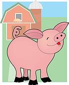Baby Pig on a Farm