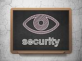 Safety concept: Eye and Security on chalkboard background
