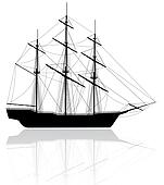 Black old ship isolated on white background