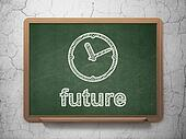Time concept: Clock and Future on chalkboard background