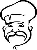 Happy chef with a droopy moustache