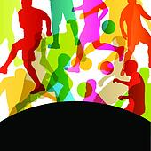 Soccer football players active sport silhouettes vector abstract background illustration