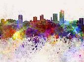 Little Rock skyline in watercolor background