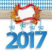 Bavarian Oktoberfest Wooden Banner Foliage 2017