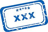 XXX Rubber Stamp over a white background