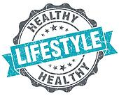 Healthy lifestyle turquoise grunge retro vintage isolated seal