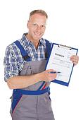 Handyman Showing Invoice On Clipboard