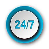 24/7 blue modern web icon on white background